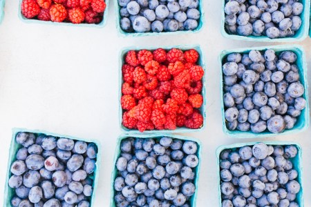 Pints filled with fresh whole blueberries and raspberries at market